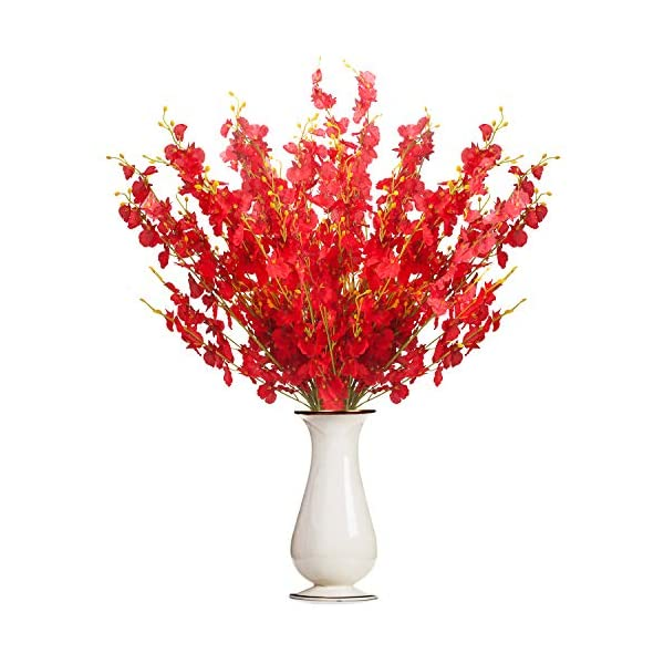 Bosslandy Faux Orchid Flowers Artificial Dancing Lady Orchids 10 Pcs Silk Fake Flower Real Touch for Wedding Home Party Decor Butterfly Flower Arrangement(Red)