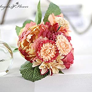 ShineBear Wedding Bride Hand Bouquet Rosemary Peony Flower Bouquet vivifying Flower Home Furnishing and Decorative Flower - (Color: B) 1