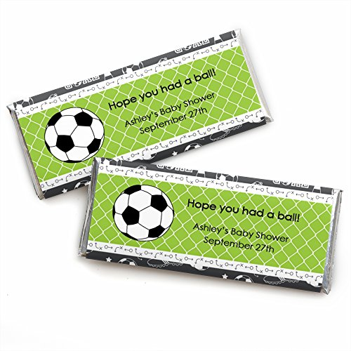 Custom GOAAAL! - Soccer - Personalized Baby Shower or Birthday Party Favors Candy Bar Wrappers - Set of - Football Bar Candy