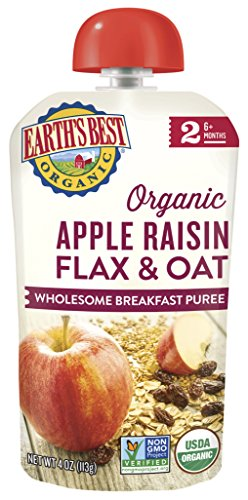 Earth's Best Organic Baby Food Puree Pouch, Apple & Raisin Breakfast, Stage 2 For Babies 6 months & Older, 4.2 Oz (Pack of 12) [Packaging May Vary]