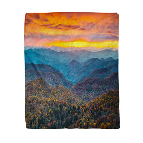 rouihot 60x80 Inches Flannel Throw Blanket North Carolina Blue Ridge Parkway Mountains Sunset Scenic Landscape Home Decorative Warm Cozy Soft Blanket for Couch Sofa Bed