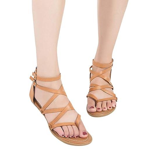 2f8469cd69bce Amlaiworld Summer Women Plus Size Sandals Shoes Ladies Sandals Cross Strap  Flat Ankle Roman Casual Shoes