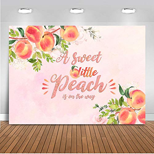 Mocsicka Sweet Peach Baby Shower Backdrop 7x5ft Vinyl Watercolor A Sweet Little Peach is on The Way Baby Shower Photography Background Girl's Birthday Cake Table Banner Photo Backdrops Studio Props]()