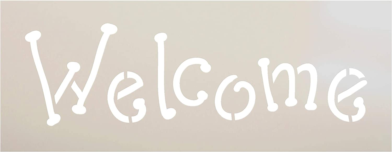 Amazon Com Welcome Stencil By Studior12 Whimsical Fun Word Art