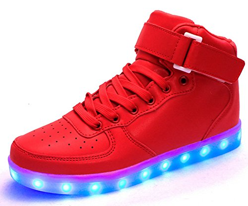 King Ma Unisex High Top LED Sport Shoes Flashing Rechargeable Sneakers
