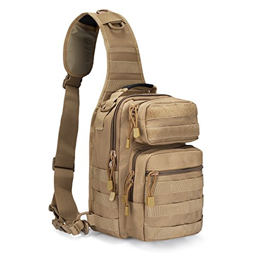 G4Free Sling Backpack Tactical Molle One Strap EDC Daypack Military Small Chest Pack for Daily use(Brown)