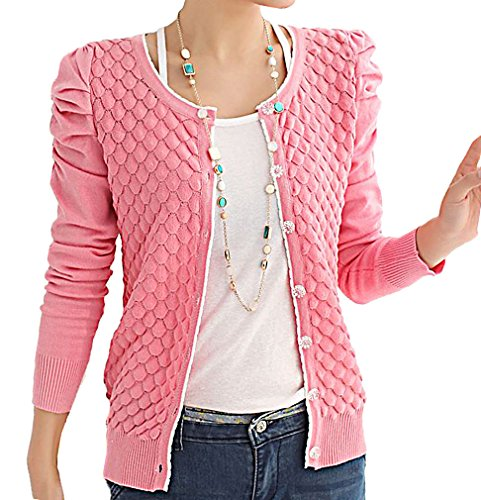 JVA Women's Stylish Slim Fit Knitted Long Puff Sleeves Button Cardigan SW30, Pink Medium