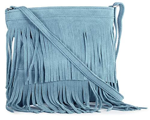 Ashley Shoulder Bag - LIATALIA Womens Fringe Handbag - Real Italian Suede Leather - Tassle Effect Shoulder Bag - (Large Size) - ASHLEY [Baby Blue]