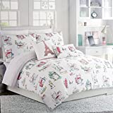 Duvet Cover Set Paris Cynthia Rowley Girls 3 Piece Full / Queen Size Cotton Red Green Orange Painted Parisian Scenes on White