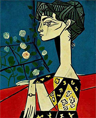 JH Lacrocon Jacqueline with Flowers 1954 by Pablo Picasso - 75X90 cm (Approx. 30X36 inch) Abstract Paintings Rolled Canvas Handpainted Reproduction Wall Art for Living Room ()