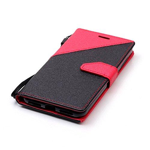 Funda Cover Huawei Y5 II,Ukayfe Wallet Case Flip Funda de cuero PU Piel Monedero de Tarjeta Anti-Arañazo y Shock Resistente Protector Bumper Case Cover Accesorio con Colorful Empalme Diseño para Huawe Rojo