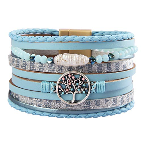 Jenia Tree of Life Leather Bracelet Boho Cuff Bracelet Wrap Around Bracelets for Women -