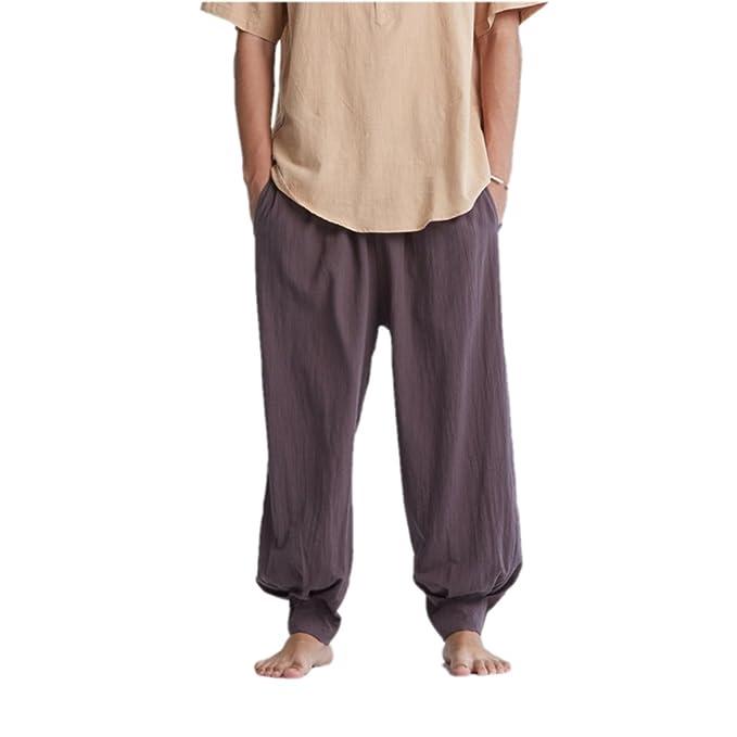 Amazon.com: zanying Hombres Monje pantalones de meditación ...