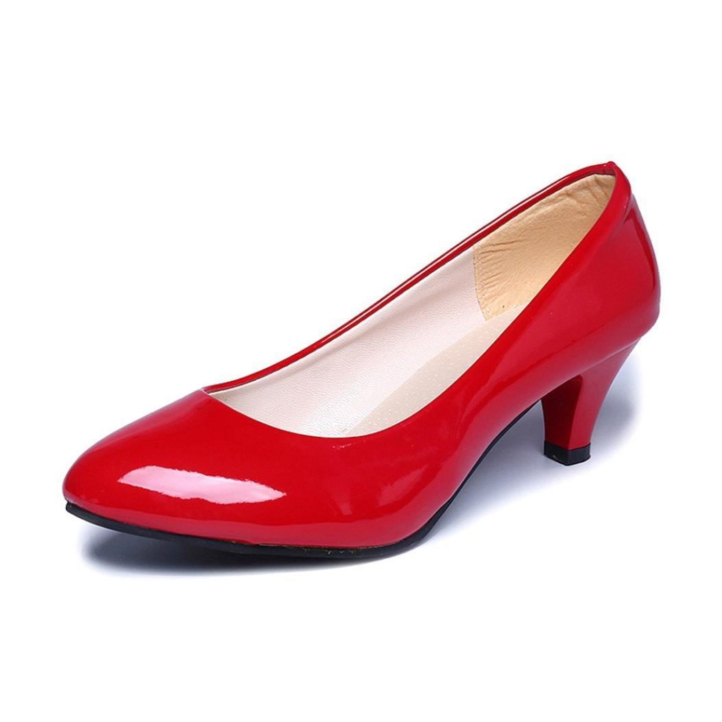 [HGWXX7's Shoes] レディース B079QXDS2V 40 EU レッド レッド 40 EU
