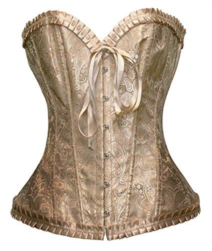 (Bslingerie Womens Waist Cincher Boned Corset with Brocade (XL,)