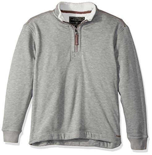 True Grit Men's Bonded Heather Lux Plush Fleece 1/4 Zip Pullover, Grey, M