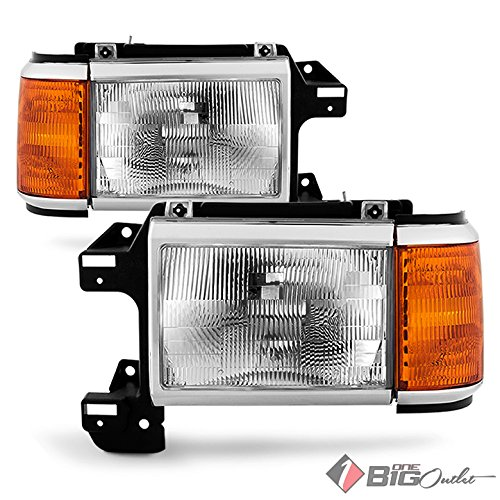 1987-1991 Bronco, F-Series Replacement Headlights Driver+Passenger Side Pair L+R 1988 1989 1990
