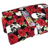 Handmade Fabric Book Sleeve - Perfect For Hardbacks Or Large Paperbacks - Padded, Skull Roses Print