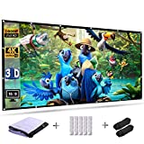 Projection Screen 120 Inch 16:9 HD Foldable Anti-Crease Portable Outdoor Indoor Projector Movies Screen Wall Mount for Home Theater Support Front and Rear Projection