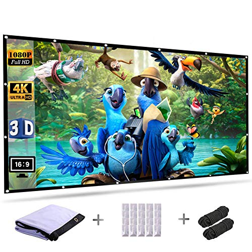 Projection Screen 120 Inch 16:9 HD Foldable Anti-Crease Portable Outdoor