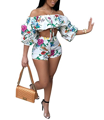 Floral Puff Sleeve Top - Womens Floral Off Shoulder Ruffle Puff Sleeve Bodycon 2 Piece Outfits Jumpsuits Crop Top and Shorts Set