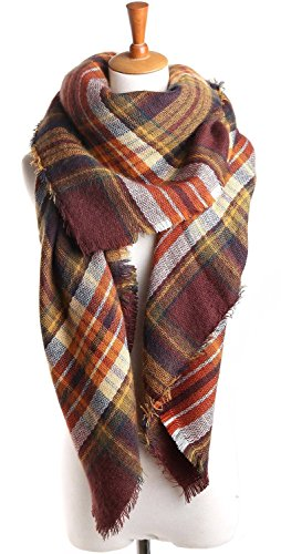 Yanekop Womens Big Blanket Scarf Soft Warm Tartan Plaid Scarf Shawl Fashion Wrap(Coffee)