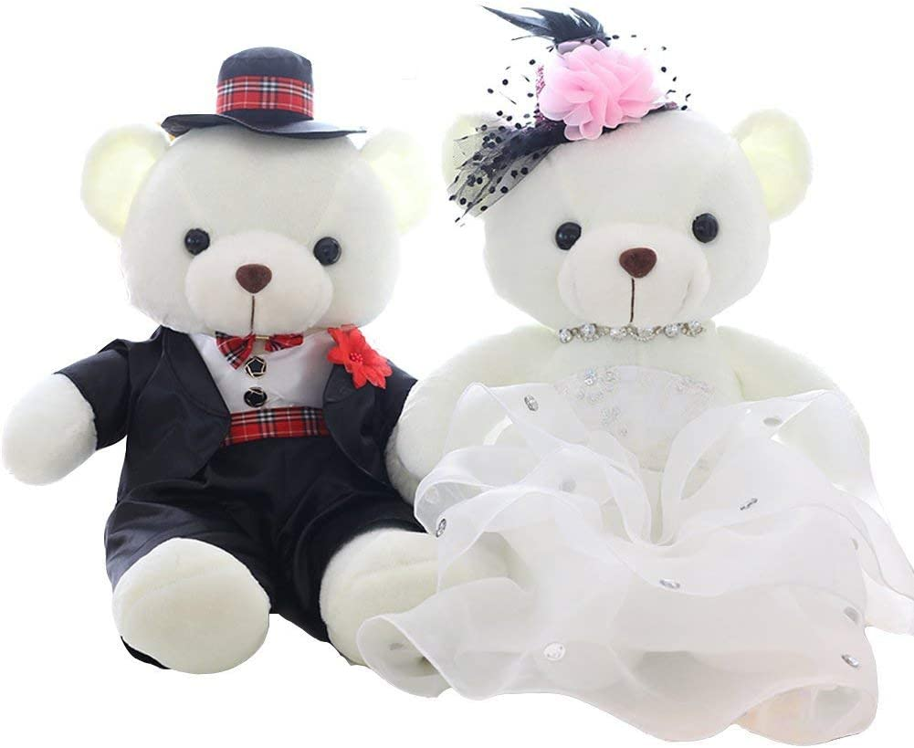 B4001 Bride and Groom Gifts For Wedding Day Wedding Gifts For the Couple Unique unlockgift 15.5 Plush Bride and Groom Bears Toys