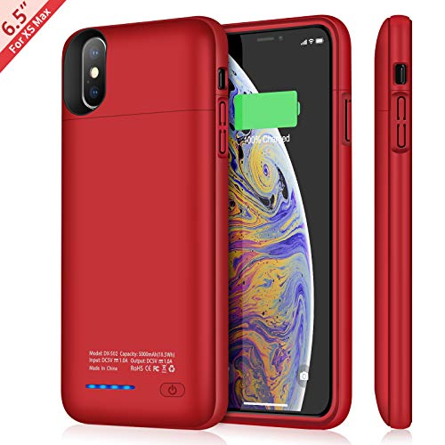 TAYUZH Battery Case for iPhone Xs Max, 5000mAh Slim Portable Magnetic Charging Case for iPhone Xs Max (6.5 inch) Support Wired Headphones Rechargeable Extended Battery Protective Charger Case (Red)