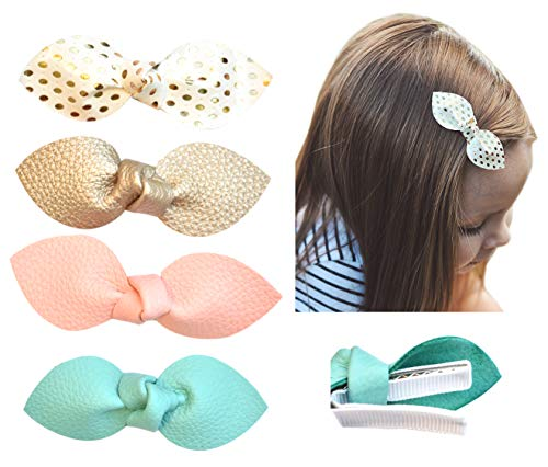 California Tot Premium Faux Leather Bow Hair Clips for Toddler, Girls, Mixed Set of 4 (Sweet Clip Set)
