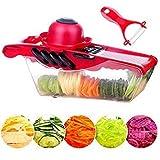5XBokdy Vegetable and Fruit Chopper Vegetable and Fruit 5 IN 1Multifunction Vegetable Slicer 5 Stainless Steel Blades