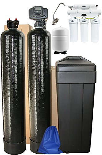 ABCwaters Triple Combo Whole House Fleck 5600sxt 48,000 Grain Water Softener System + Upflow Carbon Tank + (HE) 5 Stage Reverse Osmosis Drinking Water Unit 75 gpd (Triple Filtration)