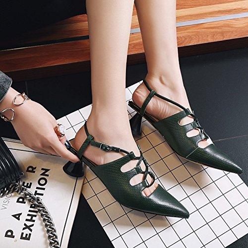 AJUNR elegante tacones Transpirable ocio negrita la Moda y 39 mujer punta Sandalias de 6cm zapatos 34 con de O5rOqB
