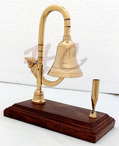 Solid Brass Ship Bell Desk Bell Services Call Bells on Wood Base with Pen Holder by Hanzlacollection (Image #5)
