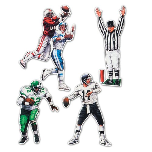 Beistle 55174 4-Pack Football Figures for Parties,