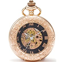 SEWOR Vintage Magnifier Skeleton Pocket Watch Rose Gold Mechanical hand wind