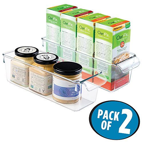 mDesign Refrigerator, Freezer, Pantry Cabinet Organizer Bins for Kitchen – 4″ x 11.5″ x 3.5″, Pack of 2, Clear