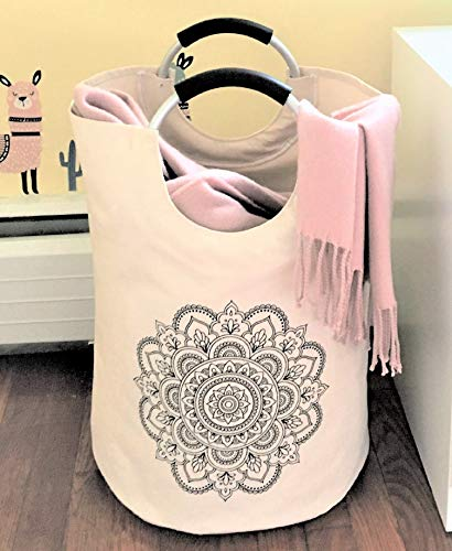 Popself. Laundry Hamper Collapsible Laundry Basket Foldable Kids Hamper Clothes Laundry Tote Folding Canvas Laundry Bag - Teen Girl Gifts for Women College Dorm Room Essentials for Girls (Mandala) (Teen College Dorm)