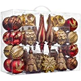 Valery Madelyn 50ct Woodland Shatterproof Christmas Ball Ornaments Decoration Red Brown,2.76Inch-7.09 Inch for Christmas Tree Decorations Included