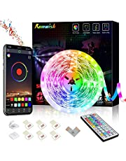 Romwish LED Strip Lights 16.4ft/5M, Bluetooth 5050 RGB Color Changing LED Lights, Music Sync Dance, 44 Keys Remote Controll & Mobile APP Controller, Timing Function for Bedroom, TV, Party, DIY Decora