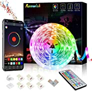 16.4ft LED Strip Lights, APP Control Music Sync Color Changing RGB LED Strip with 44 Keys Remote, Timing Funct
