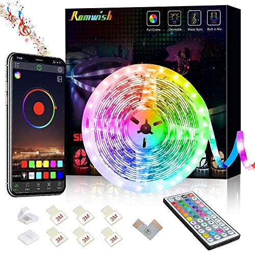16.4ft LED Strip Lights, APP Control Music Sync Color Changing RGB LED Strip with 44 Keys Remote, Timing Function for…