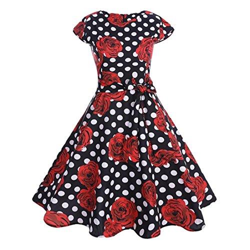 Huhu833 50s Retro Vintage Kleid Sommer Kurzarm Casual Blumendruck ...