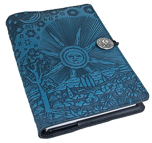 Genuine Leather Refillable Journal Cover with a Hardbound Blank Insert, 6x9 Inches, Roof of Heaven, Sky Blue With Pewter Button, Made in the USA by Oberon Design