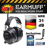 ''BLACK'' edition Ear Defender original ''EARMUFF'' Digital AM FM MP3 / Smart phone Radio HEADPHONES Hearing PROTECTOR Ear Muffs