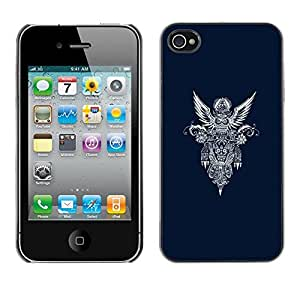 Plastic Shell Protective Case Cover || Apple iPhone 4 / 4S || Wings Heaven Motorcycle @XPTECH