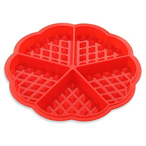 Heart Shaped Baking Pans (Heart-shaped Waffle Cake Silicone Molds, Waffle Muffin Molds, Waffle Baking Mould Pan, DIY Bakeware Tool-Nonstick, Reusable, BPA Free, Red)