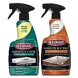 Weiman Granite Disinfectant Cleaner & Polish Kit - For Granite Marble Soapstone Quartz Quartzite Slate Limestone Corian Laminate Tile Countertop and More