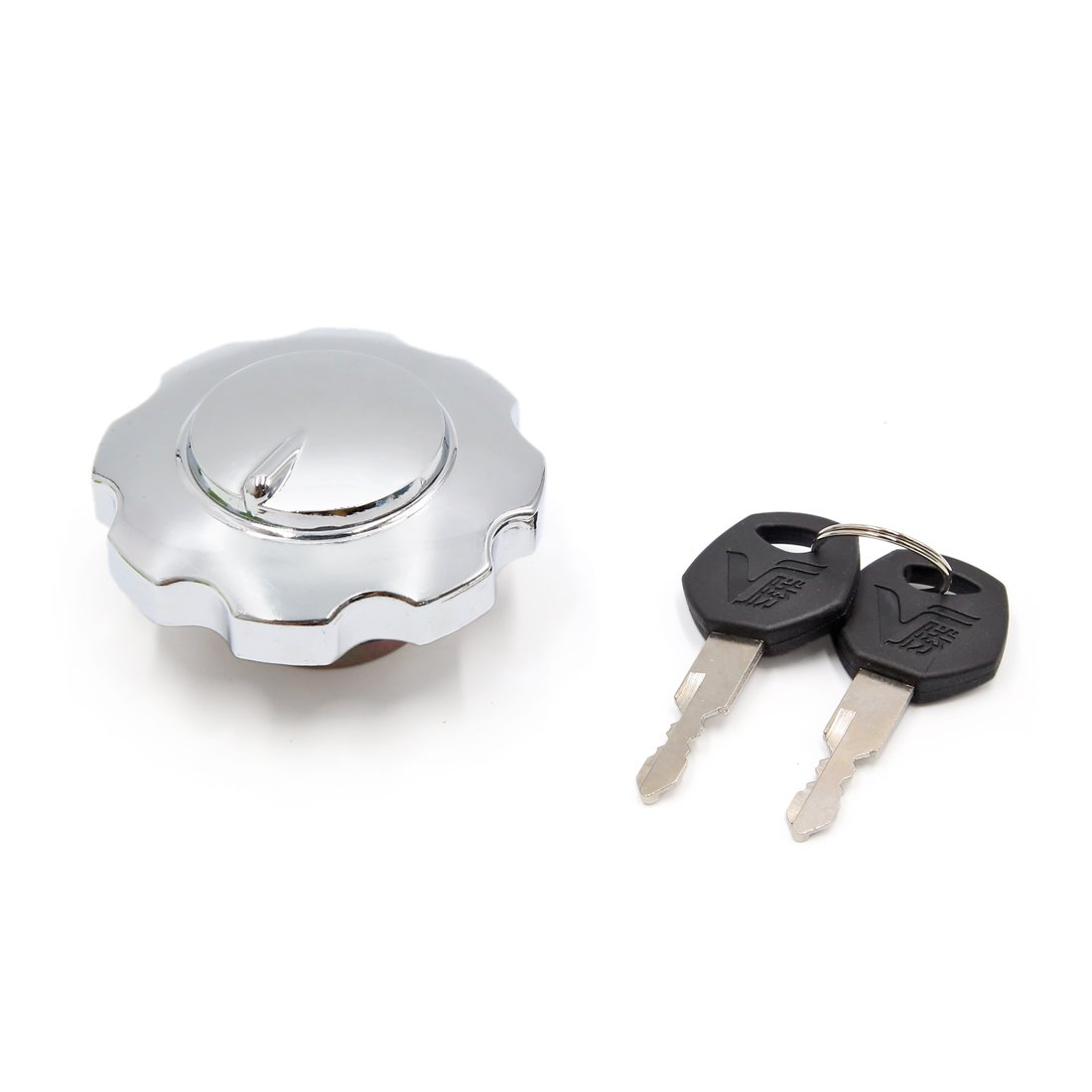 sourcingmap Silver Tone Metal Oil Fuel Tank Gas Cap Lock Cover w 2 Keys a17030300ux1427