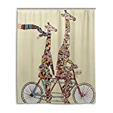 BAIHUISHOP Bathroom Shower Curtain With 12 Hooks Mildew Proof Polyester Fabric 60X72 Inch Giraffe Pattern