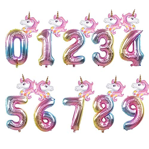 2Pcs Rainbow Unicorn 32Inch Foil Number Balloons Kids Birthday Party Decoration Helium Number Balloon Event Baby Shower Decor Style 3 Number 6]()